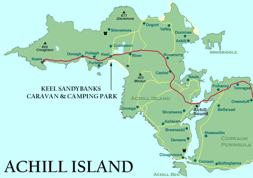 Achill Island Map Keel Sandybanks Camping & Caravan Park | Map Of Achill Achill Island Map